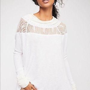 Free People Thermal Lace Boat Neck long Sleeves